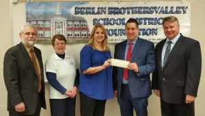 Berlin- Tim Resh, Board Member Riverview Bank and Riverview Financial, Cathy Webreck and Mandy Lauer, Berlin-Brothersvalley SD Foundation, Michael Paulman, Region President Citizens Neighborhood Bank and Superintendent Dr. David Reeder