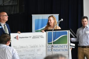 September 11th National Memorial Trail Alliance presents a check with seed funding for a new fund to support the trail at Community Foundation for the Alleghenies