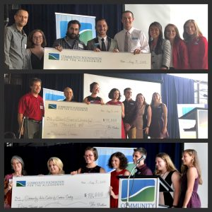 Community Foundation for the Alleghenies Youth Philanthropy Interns present grant checks to area nonprofits.
