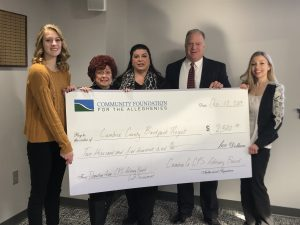 Cambria County Children and Youth Services Advisory Board members donate $2,500 to the Cambria County Backpack Project Fund at Community Foundation for the Alleghenies