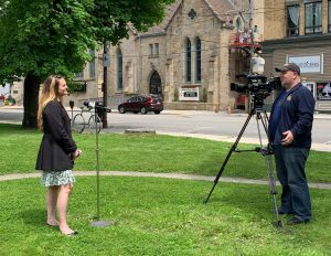 Community Foundation for the Alleghenies Associate Director Angie Berzonski speaks with Erik Grant from WJAC-TV